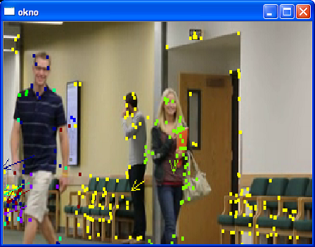 Tracking people in video with calculating the average speed of the monitored points
